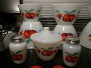 Complete Fire King Apples Bowls, Grease Jar Andlid, Salt And Pepper Shakers New Lid
