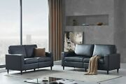 2-pc Sofa And Loveseat Set Modern Pu Leather Couch Furniture Upholstered Black
