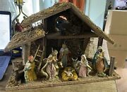Vintage Nativity Creche Manger Scene Large Size Figures Made In Italy