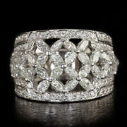 2.50ct Diamond Cocktail Band Wide Ring Marquise Round 18k White Gold 10g Floral