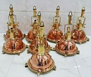 Antique Smooth Art Deco Hanging Pendant Spot Light Brass And Copper 8 Piece