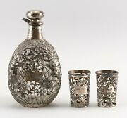 A104 Chinese Export Sterling Silver Overlay Whiskey Decanter And Two Tumbler Liner