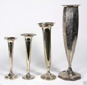 A042 Group Of 4 Estate American Sterling Silver Weighted Vases1260 Grams