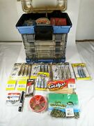 Huge Bass Fishing Lure Lot With Plano Tackle Box 100+ Pieces See Photos Spinner