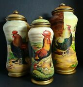 Rooster Canisters Set Of 3 Jars Country Kitchen Farm Chicken Org Price 329.00