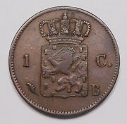 Netherlands 1826 B Cent Vf Scarce William I Brussels Rampant Lion Copper Coin