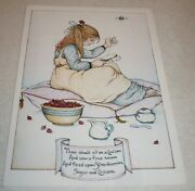 Vintage Mary Engelbreit Litho Strawberries Sugar And Cream Girl Sewing 1978