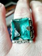 Vintage Art Deco 1920's Silver Teal Glass Ring 7.25