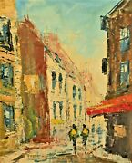 Pierre Original Vintage Signed Impressionist Figural Cityscape Gallery Painting