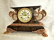 Antique Gothic Ansonia And039belgiumand039 Mantel Clock. Nice Version. Restored Serviced