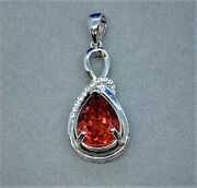 Rare Live Flame Certified Orange Red Painite Necklace In White Gold On Sterling