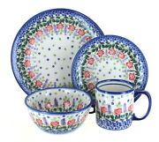 Blue Rose Polish Pottery Roses Are Red 16 Piece Dinnerware Set