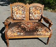Carved Settee Sofa Golden Oak Antique Victorian / Ct Pickup Or Delivery Offered