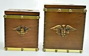Pair Mid Century Vintage Wood Canister Set Eagle Inlay Plastic Inserts Mcm Décor