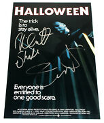 Jamie Lee Curtis And Nick Castle Signandeacute 3.7x5.5mhalloweenand039 Film Affiche / Coa