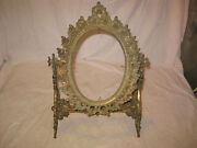 Antique Ornate Brass Victorian Tilting Vanity Stand Mirror Or Picture Holder