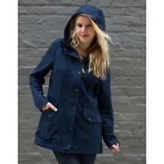 Betabrand Morning Mess Chino Twill Cotton Hooded Coat Navy Blue Womenandrsquos Large