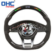 New Led Carbon Fiber Steering Wheel Compatible With Mercedes Benz W205 Amg Model