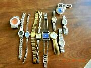 Lot Of 11 Woman's Wrist Watches. Timex, Bulova, Citizen, Etc., Parts Or Repair