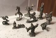 Lot Of 9 Fantasy Pewter Figures - 5 Spoontiques And 4 Others Figurines