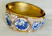 Andnbspbracelet Blue White Porcelain Clamper Oval Ooak Soapy Sudsy Dishes Blue Willow