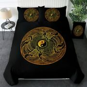 Black Gold Tai Chi Waves King Double Single Quilt Duvet Pillow Cover Bed Set