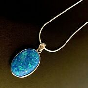 1 Pinfire Blue Opal Oval Celtic Heart Openwork Pendant Necklace Sterling Silver