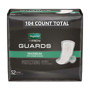 Depend Incontinence Guards Bladder Control Pads For Men 104 Count- 2 Packs Of 52