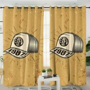 Yellow Retro Vintage Hat Cap Style Window Living Room Bedroom Curtains Drapes