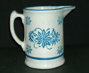 Rare Blue And White Short Stenciled Wildflower Pitcher Stoneware - Brush-mccoy Oh