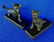 Signed Edith B Eb Parsons Gorham Co. Founders Bronze Terrier Book Ends