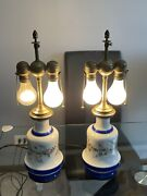Pair Of Vintage Porcelain French Vase Lamps With Benjamin Dual Socket 19th C