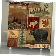 Lodge Collage I Shower Curtain, Brown
