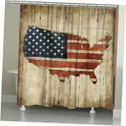 Wooden Flag Shower Curtain, Brown/red