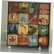 Lodge Patch Shower Curtain, 71 X 74, Brown