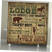 Welcome To The Lodge Shower Curtain, Brown