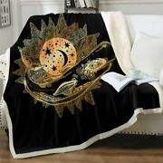 Mandala Gold Whale Astrology Sherpa Plush Throw Blanket Fleece Bed Sofa Couch