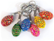 6 Ukrainian Hand Painted Wooden Easter Eggs Pysanky Key Chains 1 1/4 Inch