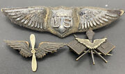 Rare Us Army World War 1 Ww1 Pilots Lot Wing And Two Collar Ins