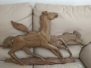 Vintage, Syroco Wood, Wall Hanging, Two Horses