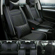 Full Set Car 5-seats Seat Cover Suv Pu Leather Front + Rear W/pillow Black Set