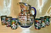 Northwood Glass Cobalt Blue Carnival Pitcher And Six 6 Tumblers Wild Cherries
