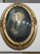 Antique Oval Convex Bubble Glass Picture Frame Man In Suit 25 H 19 Wide 1800's