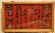 Vintage Metal Toy Soldiers Tanks Cannons And M/gunner Hand Painted With Oak Case