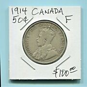 Canada - Beautiful Historical George V Silver 50 Cents 1914 Best Date Km 25