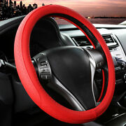 15and039and039 38cm Microfiber Leather Car Steering Wheel Cover Non-slip Grip Classic Red