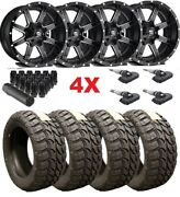 20x12 Fuel Gloss Black Milled Wheels Rims Tires 35 12.50 20 Mt Mud Terrain Tis