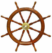 36 Antique Large Nautical Handcrafted Wooden Ship Wheel Home Office Wall Decor
