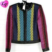 Alice + Olivia Kidman Weaved Leather Jacket Size Small New With 1595 Tags