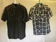 Bke Buckle Mens Snap Button Shirt Size Large Short Sleeve Plaid And Brown